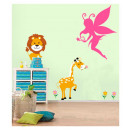 Großhandel Wandtattoos: Fairy Wandtattoo -  55 x 65 cm - rosa Velours