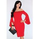Großhandel Kleider: Kleid mit einem ausgestellten Ärmel - rot