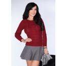 Großhandel Pullover & Sweatshirts: Maroon Pullover leicht durchscheinend