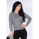Großhandel Pullover & Sweatshirts: Grauer Pullover leicht rosa