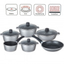 Cast aluminum cooking pot set 10 pcs. Silver
