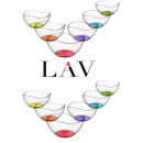 LAV 12 pcs. Glass bowls Vira with colored bottom