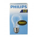 Philiips incandescent / 75W / E27 / clear / pear s