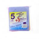 Poetslappen 5 + 3 Gratis in blauw, geel, roze