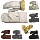 Mittens leather sheep lambskin patchwork