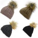 Kids Winter Beanie Hat Knit Faux Fur Bommel