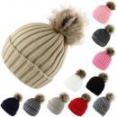 Bobble Hat Knit Faux Fur Hat Winter