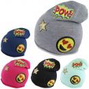 Großhandel Kopfbedeckung: Beanie Kind Smiley Mütze POW Stern Patches Aufnä