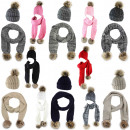 wholesale Fashion & Apparel: Scarf faux fur pom pom acrylic melange winter