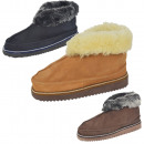 Hut slipper lambskin sheepskin leather fur wreath