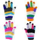Kids knitted gloves colorful striped cuddly