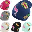 Großhandel Kopfbedeckung: Beanie Flamingo Mütze Patch POW Ananas Patches A