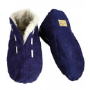 Suede slipper genuine leather cuddly fur Puschen
