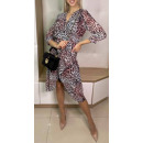 Women's chiffon dress with leopard print