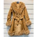 Langer, eleganter Mantel CAMEL aus Kunstleder