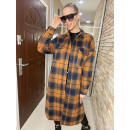 Checkered thick flannel shirt in NAVY color