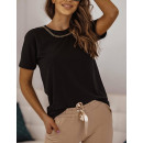 Bluzka t-shirt damska z łancuszkiem CZARNA