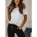 Bluzka t-shirt damska z łancuszkiem BIAŁA