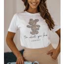 Blouse T-Shirt Dames Doe waar je van houdt WIT