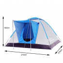Camping tent with anteroom 310 x 240 x 130 cm blue