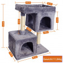 Cat tree with two cat caves height 80cm, gray