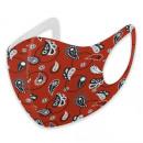 Maschera bocca moda rosso lavabile con stampa