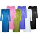 Damen Luxus Nachtkleid Schlafkleid Langarm 501