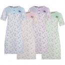 Chemise de nuit en coton pour femme à manches cour