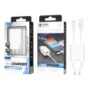 Charger With Micro Usb Cable 2.4A 1M 2Usb White