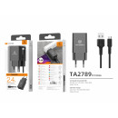 Charger With Cable For Micro Usb 2.4A 1Usb 1M Blac