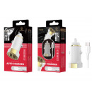 Car Charger With Cable Type C 2.4A 1M 2Usb White /