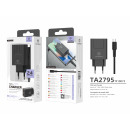 Ladegerät mit Kabel für Micro Usb 2.4A 2Usb 1M Bla