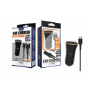Car Charger With Micro Usb Cable 2.4A 1M 2Usb Blac