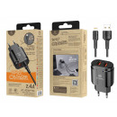 Charger With Cable For Ip 2.4A 1M 2Usb Black