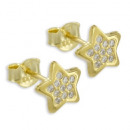 Earring Star 22 Zirconia Real Gold 333/000