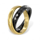 mayorista Anillos: 2er anillo de cerámica negro de 18 quilates. dorad