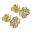 wholesale Earrings: Earrings Clover 18 Zirconia real gold 333/000