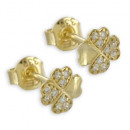 Earrings Clover 18 Zirconia real gold 333/000