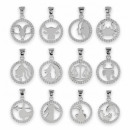 Zodiac Sign with Cubic Zirconia Sterling Silver 92