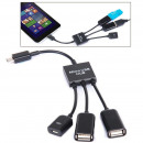 wholesale Storage media: 3 in 1 Micro USB HUB DOUBLE USB 2.0 OTG ADAPTER