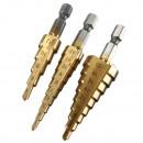 grossiste Outils a main: Set de perçage d'escalier en 3 étapes