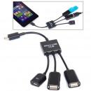 wholesale Storage media: 3 in 1 Micro USB HUB DOUBLE USB 2.0 OTG ADAPTER