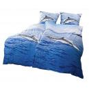 wholesale Bedlinen & Mattresses: 2-part reversible bed linen Delfin 100% coton