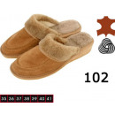 Shoes, slippers for women, leather, wool, model 10
