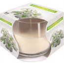 White flowers Scented candle in glass