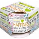 Vela perfumada en  vidrio y papel de la felicidad