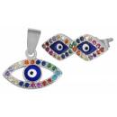 925 Silber Schmuck Set blue-eye Anhänger & Ohrstec