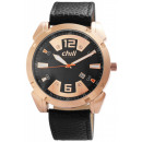 Chill men's watch with imitation leather strap