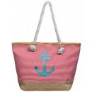 Ladies handbag textile with anchor motif, dimensio