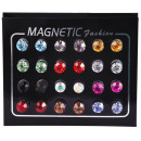 Magnetic earrings, multicolored, pack of 12